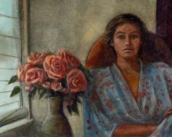 Original Framed Watercolor Figure Interior Flowers Kimono Portrait DelPesco