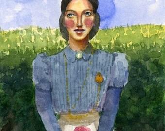 Portrait of a Woman Waiting Original Matted Watercolor Painting Art Belinda DelPesco
