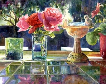 Watercolor Flowers in Sunlight - Big Art Print Painting Reflections Belinda DelPesco