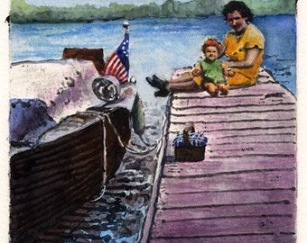 Nautical Art Boat Dock Family Picnic Original Printmaking with Watercolor Charlotte on the Dock Belinda DelPesco