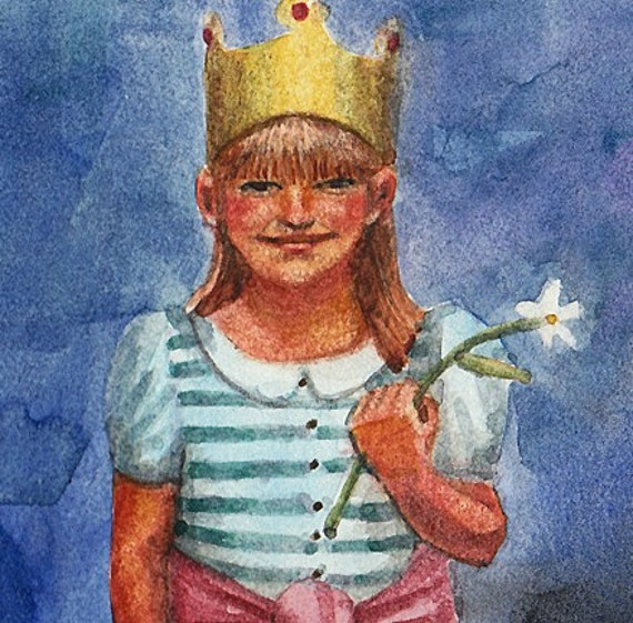 Daffodil Queen Little Girl with a Flower and a Crown Original Watercolor Kids Room Art