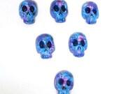 Polymer clay dia de los muertos blue skull beads