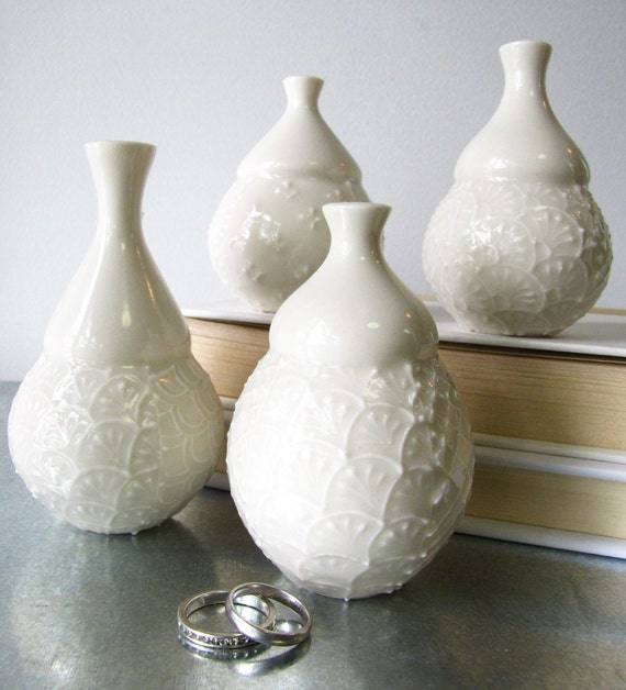 Single White on White Bud Vase