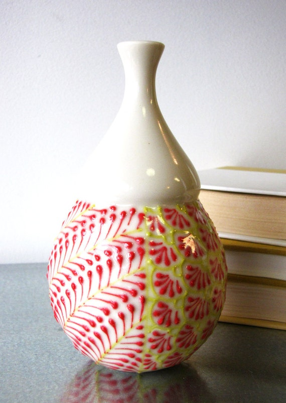 SALE Tall bud vase in Red and Chartreuse