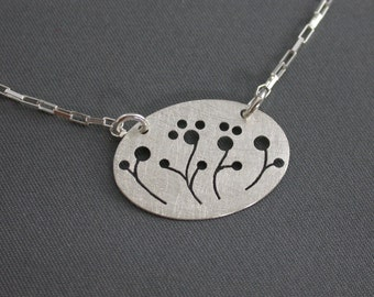 SMaddock Sterling Silver Tree Series Oval Pendant Necklace