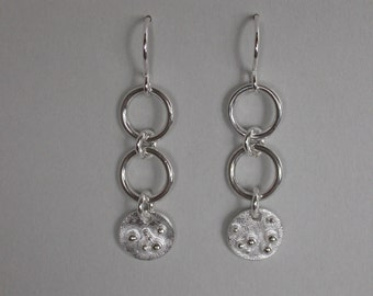 SMaddock Double Ring Granulation Silver Earring