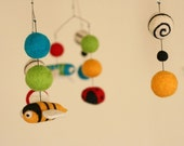 Felted Wool Mobile - Eco Friendly Baby - Natural Wool - Baby Mobile - Baby Nursery - Entomology