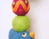 Blue Bird  -  Brainy Baby Bobble - Felted Wool Baby Rattle - Eco Friendly - Natural - Alternative Baby Toy
