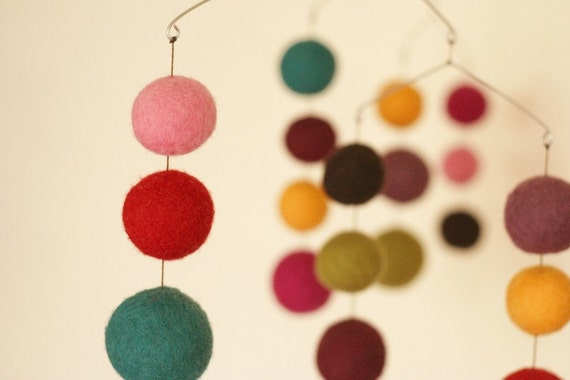 February - Birth Months Series - Eco Friendly - Natural - Felted Wool - Baby Mobile