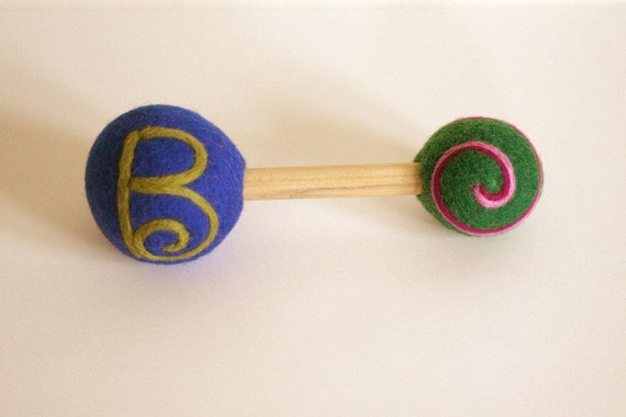 Monogram - Custom - Star - Felted Wool Baby Rattle - Eco Friendly - Natural - Alternative Baby Toy