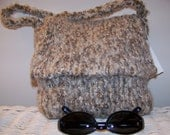 Grey and Tan Felted Bag with Flap