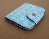 6 Pocket BiFold Wallet with Change Purse in Retro Pod Blue Cotton Fabric