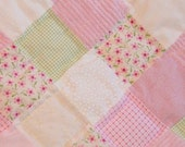 Pink Chenille Patchwork Baby Quilt