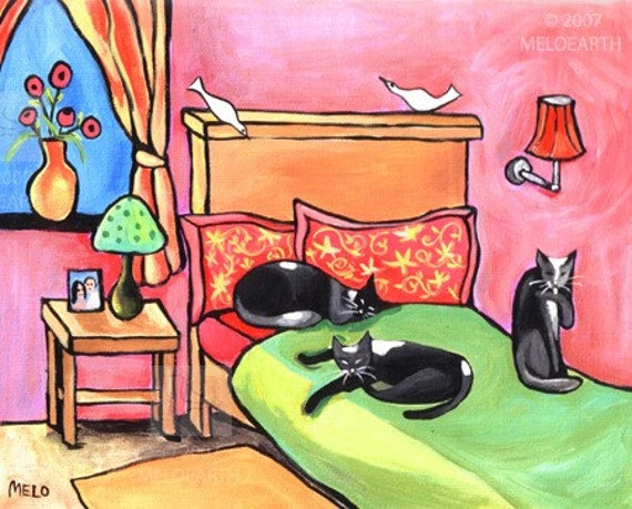 Cat Nap Sleep Bedroom Colorful Print Reproduction Cute Animals