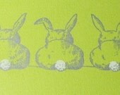 Green bunnies note cards or greeting cards double with envelope set of 4