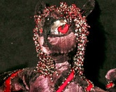 Soft Sculpture Winged Cat  Nemesis-The Sorceress Red black silver velour cat
