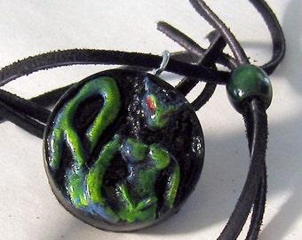 Resin Blue Green Cat Women Pendant Pagan Element WATER Pagan Jewelry