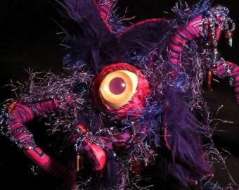 Soft Sculpture Cute Monster Alien Zara  Wrathful Ruler of the Crawling Eyes