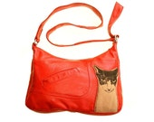 Coral Red Recycled Leather and Wool Cat Bag