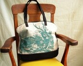 Daily Special SALE Canvas and Leather Deer Bag by BonspielCreation
