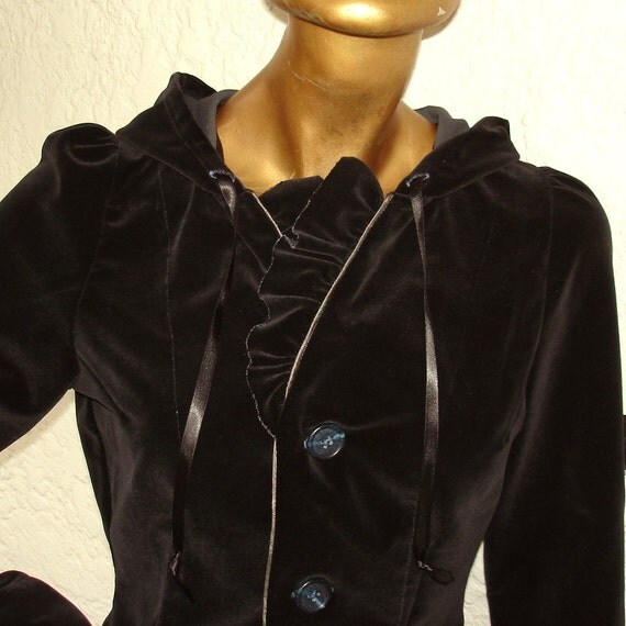 Midnight Blue Velvet English Riding Hoodie size Small