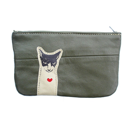 Mean Kitty Pouch in  Recycled Leather
