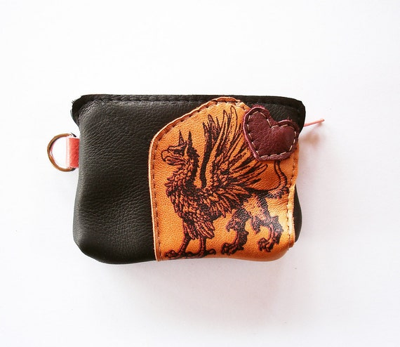 Gryphon Coin Purse in Recycled Orange and New Black Leather