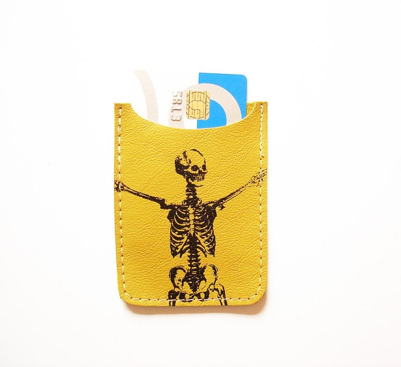 Stretching Skeleton Debit Card Sleeve in Pea Green Leather by BonspielCreation