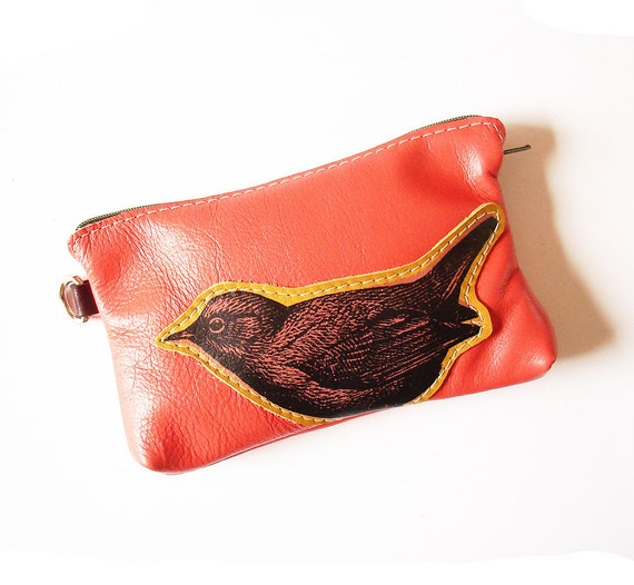 Leather Bird Phone Pouch