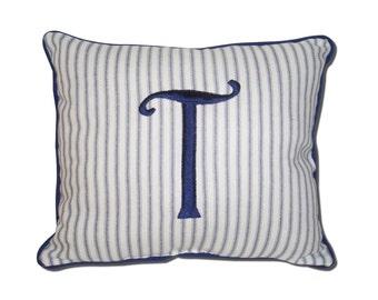 "Monogrammed Blue Ticking Stripe Pillow 12"" x 10"" Boutique Nautical Men Boys Personalized Initial Preppy"