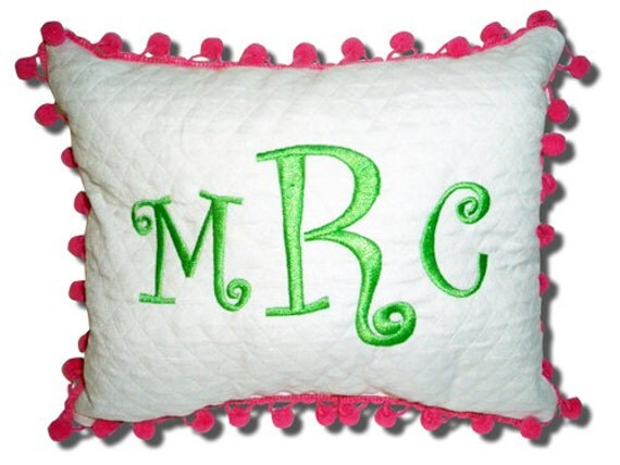 for Sarah Custom Monogrammed Pom Pom Pillow Girl Teen Tween Gift