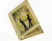 Altered Art PHOTO LOCKET - Couple Under a Tree - BOOK Locket - Art Locket