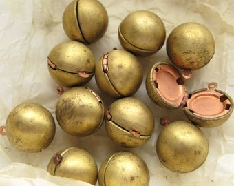 VINTAGE CLOSEOUT STOCK - Raw Brass Hinged Ball Lockets - 12 Pieces - Last Remaining Stock
