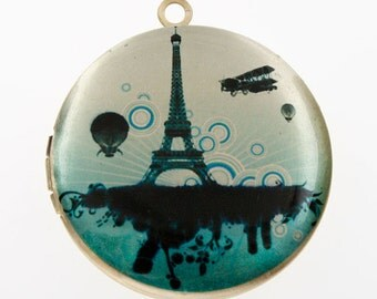 Altered Art PHOTO LOCKET - Paris Art Deco Eiffel Tower - Art Locket