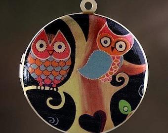 Photo Locket, Image Locket, Art Locket, Picture Locket, Brass Locket  - Midnight Owls