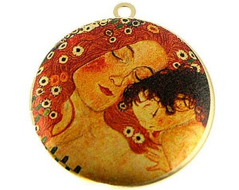 Photo Locket, Image Locket, Art Locket, Picture Locket, Brass Locket - Gustav Klimt - Mother & Child