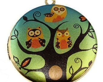 Photo Locket, Image Locket, Art Locket, Picture Locket, Brass Locket - Three Little Night Owls