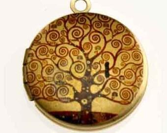 Photo Locket, Image Locket, Art Locket, Picture Locket, Brass Locket - Klimt - TREE of LIFE