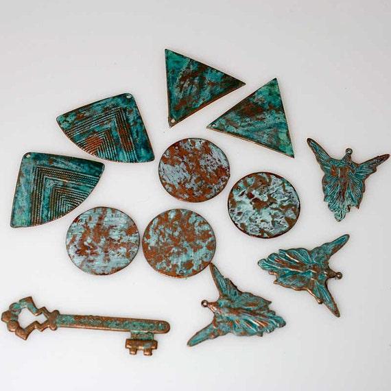 DESTASH - WHOLESALE Lot of Hand Patinated Verdigris Brass Findings - FILIGREE - Art Nouveau - Scrapbooking Closeout Bargains - Lot 10