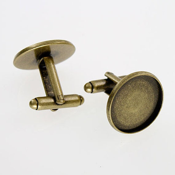 Mens Cufflinks, Photo Cufflinks, Photo Cuff Links - DIY Cufflink Blanks, Cuff Link Blanks - ANTIQUE BRASS - Great For Photos & Resin
