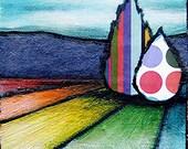 TECHNICOLOR LAND- Original mixed media painting, collage