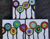 CONCENTRIC TRIPTYCH- Original mixed media painting, set of three