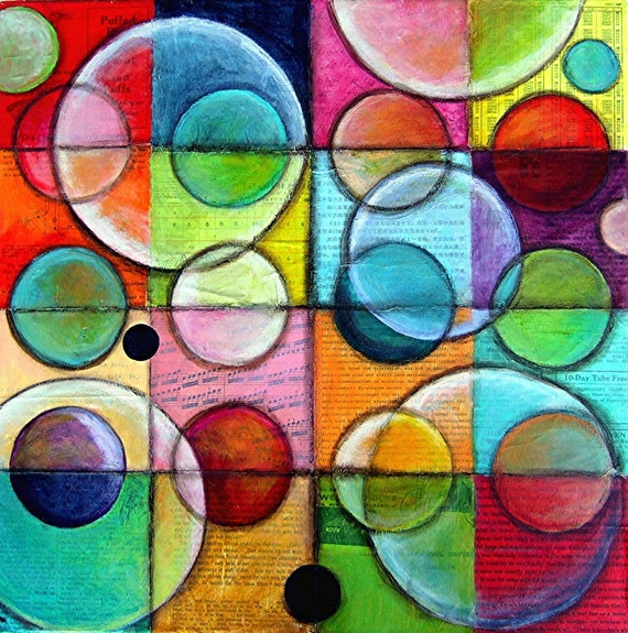 LARGE And SMALL IDEAS ORIGINAL Abstract Painting Collage