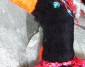 CROS BEAUTIFUL CROW ART DOLL DRESSED FOR CHRISTMAS