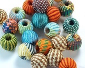 22 Bungee Beads  14mm  brightly colored fabric covered wooden beads