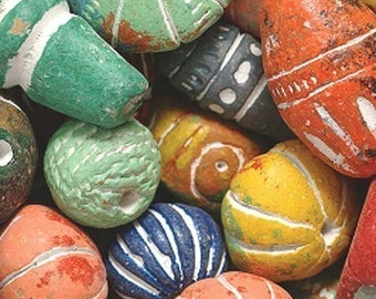 25 Brightly colored clay beads from India