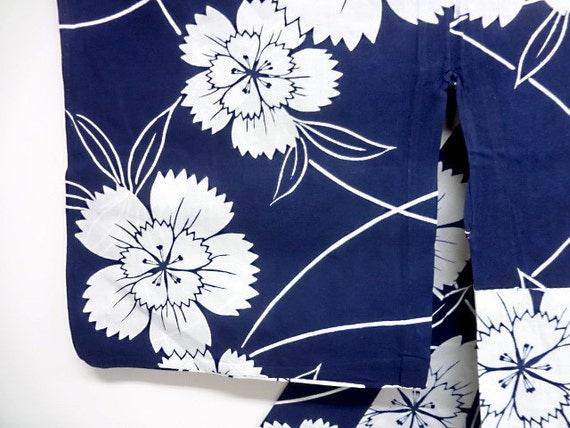Vintage Japanese Yukata Kimono- Dianthus - cotton indigo dyed fabric