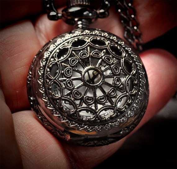 """Pocket watch - pendant watch - gunmetal finished stainless steel with 28"""" chain"""