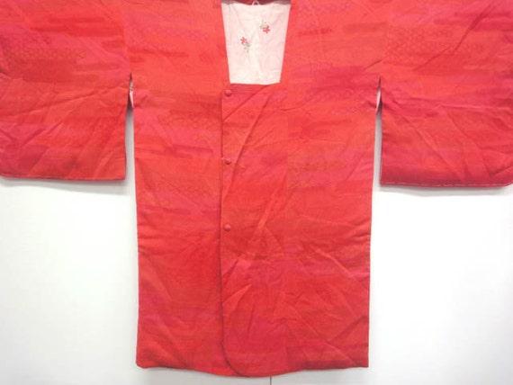 Vintage silk kimono haori  Michiyuki - fuschia and orange - mint condition