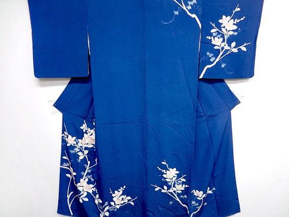 Vintage Japanese silk kimono - Royal Blue with cherry blossoms
